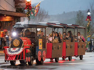 miniature train rides winter wonderland franklin nc